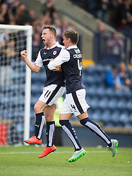 Raith Rovers Michael Megginson cele scoring their third goal. <br /> Raith Rovers 3 v 0 Livingston, SPFL Ladbrokes Premiership game played 8/8/2015 at Stark's Park.