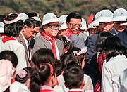 Chinese Communist Party General Secretary Jiang Zemin, center, during International Childrens Day celebrations held in Tiananmen Square June 2, 1990 in Beijing, China. The event was held as a distraction from the anniversary of the massacre that killed student-led democracy protesters in 1989.
