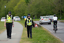 Edinburgh, Scotland, UK. Police patrolling Holyrood Park in Edinburgh. Police presence was high because of a rumoured anti-lockdown protest in the park that was promoted on Facebook. Iain Masterton/Alamy Live News