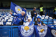 a Group of Leicester City fans look on inside Stamford Bridge before k/o. Barclays Premier league match, Chelsea v Leicester city at Stamford Bridge in London on Sunday 15th May 2016.<br /> pic by John Patrick Fletcher, Andrew Orchard sports photography.