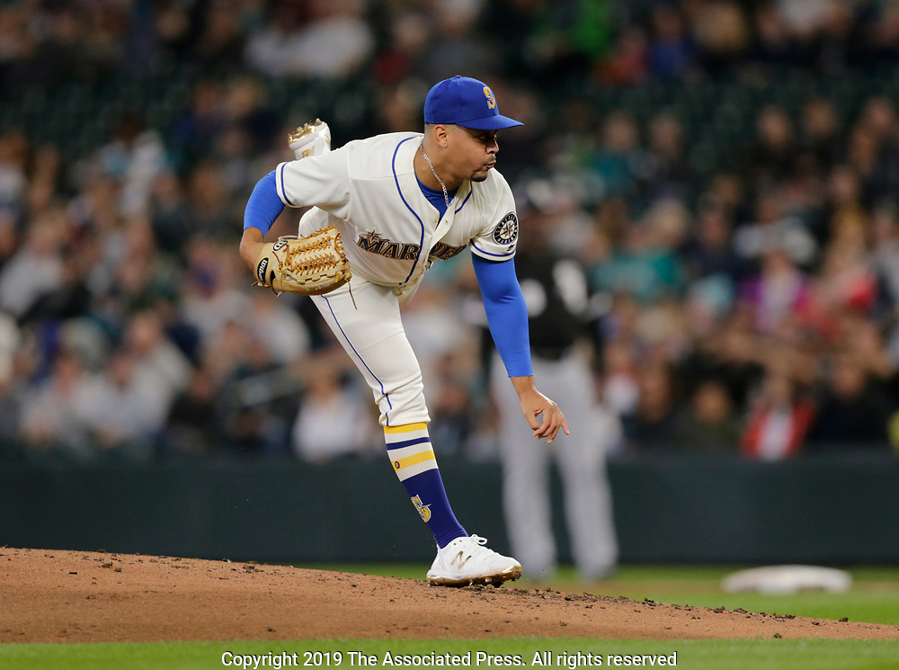 Seattle Mariners starting pitcher Justus Sheffield works against the Chicago White Sox during a baseball game, Sunday, Sept. 15, 2019, in Seattle. (AP Photo/John Froschauer)
