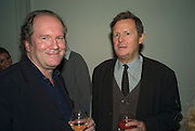 WILLIAM BOYD AND SIR DAVID HARE, party to celebrate the 100th issue of Granta magazine ( guest edited by William Boyd.) hosted by Sigrid Rausing and Eric Abraham. Twentieth Century Theatre. Westbourne Gro. London.W11  15 January 2008. -DO NOT ARCHIVE-© Copyright Photograph by Dafydd Jones. 248 Clapham Rd. London SW9 0PZ. Tel 0207 820 0771. www.dafjones.com.