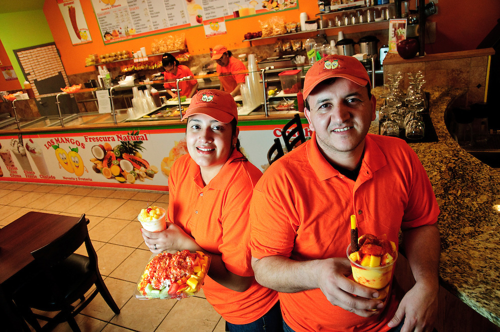 Eladio and his wife Judith Montoya own and operate Los Mangos Neveria y Fruteria, a Mexican treat shop with four locations and over 30 employees. © 2013 ViaPhotos.com - Brian J. Morowczynski Photographer