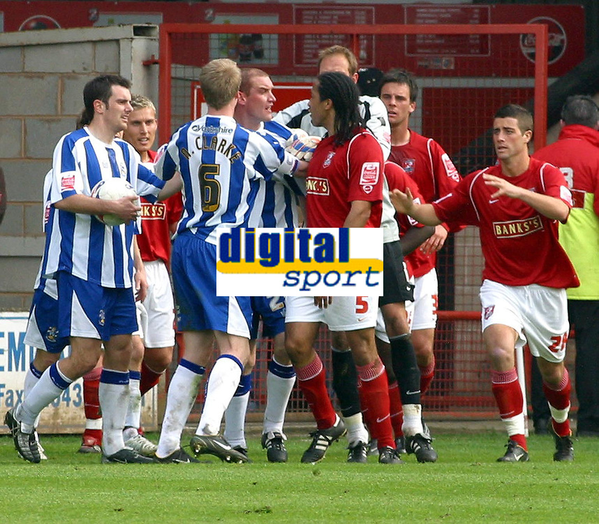 Photo: Dave Linney.<br />Walsall v Huddersfield Town. Coca Cola League 1. 22/04/2006.Walsall's Chris Westwood(9) loses his cool after being sent off