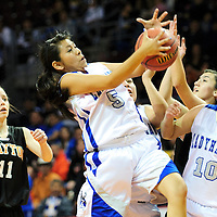 031413  Adron Gardner/Independent<br /> <br /> Laguna Acoma Hawk Roxy Kie (5) pulls down a rebound  during the 2A New Mexico High School Basketball tournament semifinals at the Santa Ana Star Center in Rio Rancho Thursday.