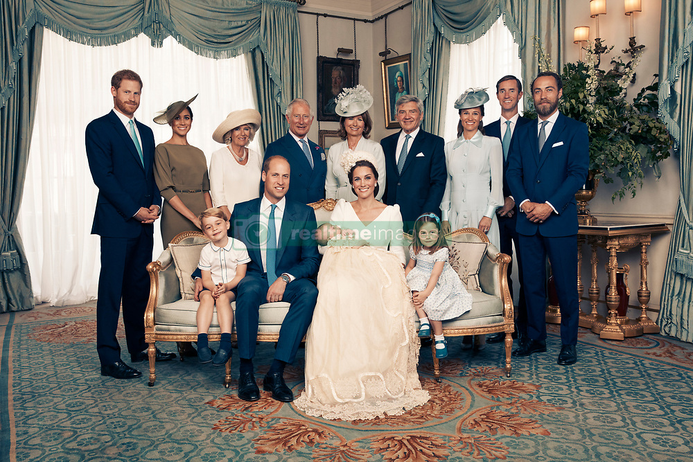 For first publication 22.30 hours BST on Sunday July 15th 2018:<br /> OFFICIAL PORTRAIT OF THE  CHRISTENING OF PRINCE LOUIS.<br /> OBLIGATORY CREDIT LINE: PHOTO MATT HOLYOAK/CAMERA PRESS.     <br /> Official portrait taken in the Morning Room at Clarence House, following the christening of Prince Louis at St James's Chapel. <br /> Seated (left to right): Prince George, The Duke of Cambridge, Prince Louis, The Duchess of Cambridge, Princess Charlotte:  <br /> Standing (left to right): The Duke of Sussex, The Duchess of Sussex, The Duchess of Cornwall, The Prince of Wales, Mrs. Carole Middleton, Mr. Michael Middleton, Mrs. Pippa Matthews, Mr. James Matthews, Mr. James Middleton.<br /> THIS PHOTOGRAPH IS PROVIDED FOR FREE NEWS USAGE IN CONNECTION WITH PRINCE LOUIS'S CHRISTENING UNTIL JULY 29TH 2018 . AFTER WHICH IT MUST BE REMOVED FROM ALL YOUR SYSTEMS. USAGE RIGHTS ARE STRICTLY EDITORIAL NEWS ONLY, NO COMMERCIAL, SOUVENIR OR PROMOTIONAL USE PERMITTED. MAGAZINE COVER USAGES REQUIRE APPROVAL. THE PHOTOGRAPH CANNOT BE CROPPED, MANIPULATED OR ALTERED IN ANY WAY.