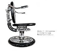 Chairs and table made from reused Harley Davidson motorcycle parts.