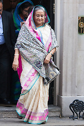 London, July22nd 2014. Bangladeshi Prime Minister Sheikh Hasina leaves Downing Street after meeting with British Prime Minister David Cameron.