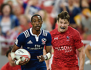 USA's Perry Baker runs past Canada's Matt Mullins to score a try during the HSBC World Rugby Sevens Series, Singapore, Cup Final match USA -V- Canada  at The National Stadium, Singapore on Sunday, April 16, 2017. (Steve Flynn/Image of Sport)