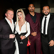 David Haye and Joe Fournier's attends a dinner to raise funds for KIDS, a charity that supports disabled children, young people and their families at Riverbank Park Plaza on 24 November 2018, London, UK.