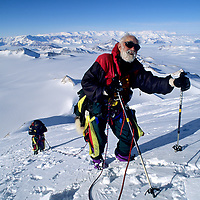 ANTARCTICA, 88-year old Norman Vaughan near summit of mountain named for him by Adm.Byrd.