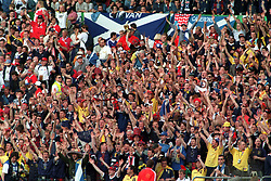 File photo dated 16-06-1998 of Scotland fans watching the match against Norway in the 1998 World Cup. Issue date: Tuesday June 1, 2021. Not since the 1998 World Cup finals in France have the Tartan Army had a summer tournament to relish.