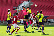 Exeter City's goalkeeper Lewis Ward (1) misses a high ball crossed during the EFL Cup match between Bristol City and Exeter City at Ashton Gate, Bristol, England on 5 September 2020.