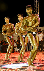 April 28, 2019 - Hyderabad, Sindh, Pakistan - Participant form all over Sindh province give pose during the Mr and Jr Mr Sindh competition 2017-2018 at Bagh e Mustafa ground organized by the Sindh and Hyderabad body building association  (Credit Image: © Jan Ali Laghari/Pacific Press via ZUMA Wire)