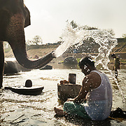 In Hampi, a pilgrim is being ritualistically sprayed water by an elephant, in a river. Near Virupaksha temple.