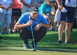February 28, 2019 - Florida, U.S. - Sergio Garcia lines up a putt during the first round of The Honda Classic Thursday, February 28, 2019 at the PGA National Resort & Spa in Palm Beach Gardens. (Credit Image: © Bruce R. Bennett/The Palm Beach Post via ZUMA Wire)
