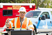 Pacific Gas and Electric Company (PG&E) Senior Vice President, Gas Transmission Operations, Jesus Soto Jr. welcomes the media to a demonstration of PG&E's recent push for higher standards of safety utilizing in-line inspection tools called Smart Pigs.  Photo by Stan Olszewski/SOSKIphoto.