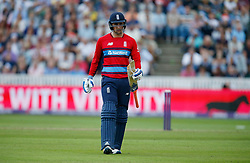 England's Liam Livingstone waits for a replacement bat after his breaks during the second NatWest T20 Blast match at the Cooper Associates County Ground, Taunton.