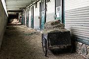 Hay cart outside stable stalls, Morgan Horse Farm, Weybridge, Vermont, USA.