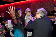 VIDAL SASSOON; ROBERTO CAVALLI,, Dinner and party  to celebrate the launch of the new Cavalli Store at the Battersea Power station. London. 17 September 2011. <br /> <br />  , -DO NOT ARCHIVE-© Copyright Photograph by Dafydd Jones. 248 Clapham Rd. London SW9 0PZ. Tel 0207 820 0771. www.dafjones.com.