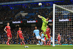 9th January 2018 - Carabao Cup (Semi Final) - 1st Leg - Manchester City v Bristol City - Bristol City goalkeeper Frank Fielding dives to make a save - Photo: Simon Stacpoole / Offside.