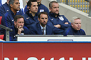 Gareth Southgate, the England Caretaker manager looks on from the dugout. FIFA World cup qualifying match, european group F, England v Malta at Wembley Stadium in London on Saturday 8th October 2016.<br /> pic by John Patrick Fletcher, Andrew Orchard sports photography.