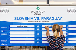 Board with schedule at public draw for Davis Cup World Group II 1st Round between Slovenia and Paraguay at Hotel Slovenija, on September 16, 2021 in Portoroz / Portorose, Slovenia. Photo by Matic Klansek Velej / Sportida