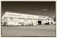 Watson Lake Motors black and white antique postcard