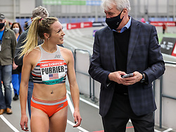 New Balance Indoor Grand Prix<br /> Staten Island, New York, February 13, 2021<br /> womens 2 Mile, Elle Purrier, New Balance, sets new American record of 9:10.28, agent Ray Flynn