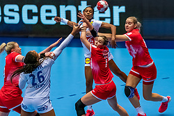 Estelle Nze Minko of France, Pauletta Foppa of France, Daria Dmitrieva of Russia, Valeriia Maslova of Russiain action during the Women's EHF Euro 2020 match between France and Russia at Jyske Bank BOXEN on december 11, 2020 in Kolding, Denmark (Photo by RHF Agency/Ronald Hoogendoorn)