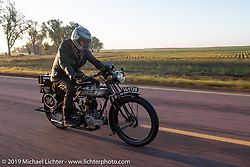 Keith Martin riding his 1924 Norton on the Motorcycle Cannonball coast to coast vintage run. Stage 8 (314 miles) from Spirit Lake, IA to Pierre, SD. Saturday September 15, 2018. Photography ©2018 Michael Lichter.