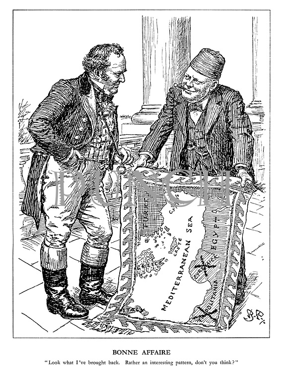 "Bonne Affaire. ""look what I've brought back. Rather an interesting pattern, don't you think?"" (Churchill shows John Bull his souvenirs with a new wall hanging map of the Mediterranean Sea crossing out Tripolitania and Cyrenaica)"