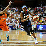UNCASVILLE, CONNECTICUT- JUNE 3:   Tiffany Hayes #15 of the Atlanta Dream drives to the basket defended by Alex Bentley #20 of the Connecticut Sun during the Atlanta Dream Vs Connecticut Sun, WNBA regular season game at Mohegan Sun Arena on June 3, 2016 in Uncasville, Connecticut. (Photo by Tim Clayton/Corbis via Getty Images)