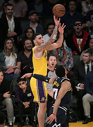 October 25, 2018 - Los Angeles, California, U.S - Lonzo Ball #2 of the Los Angeles Lakers takes a jump shot during their NBA game with the Denver Nuggets on Thursday October 25, 2018 at the Staples Center in Los Angeles, California. Lakers defeat Nuggets, 121-114. (Credit Image: © Prensa Internacional via ZUMA Wire)