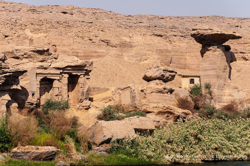 Egypt. Cruising the Nile from Kom Ombo to Luxor, passing Edfu and Esna. Rock cut shrines at Gebel el-Silsila.