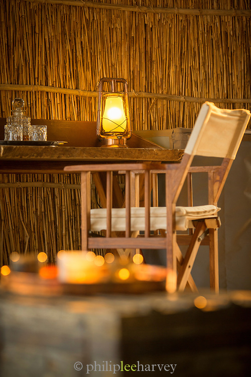 Interior of guests tent at the Chinzombo safari Lodge, Luangwa River Valley. Zambia, Africa