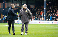 Leeds United manager Marcelo Bielsa is greeted by Luton Town manager Graeme Jones <br /> <br /> Photographer Alex Dodd/CameraSport<br /> <br /> The EFL Sky Bet Championship - 191123 Luton Town v Leeds United - Saturday 23rd November 2019 - Kenilworth Road - Luton<br /> <br /> World Copyright © 2019 CameraSport. All rights reserved. 43 Linden Ave. Countesthorpe. Leicester. England. LE8 5PG - Tel: +44 (0) 116 277 4147 - admin@camerasport.com - www.camerasport.com
