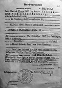 Death certificate of Claus Schenk Graf von Stauffenberg (1905-1944), issued by the city of Bamberg in 1951.  Von Stuaffenberg, German aristocrat and military officer, carried and placed the bomb used in the failed attempt to assassinate Hitler at Wolfsschanze on 20 July 1944.  He was shot on the night of 20-21 July 1944.