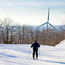 The wind turbine at Jiminy Peak ski resort in the Berkshire Mountains in Hancock, Massachusetts.
