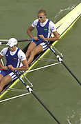 Seville, Andalusia, SPAIN<br /> <br /> 2002 World Rowing Championships - Seville - Spain Sunday 15/09/2002.<br /> <br /> Rio Guadalquiver Rowing course<br /> <br /> FRA M2X, Bow Adrien HARDY and Sebastien VIEILLEDENT<br /> <br /> [Mandatory Credit:Peter SPURRIER/Intersport Images]