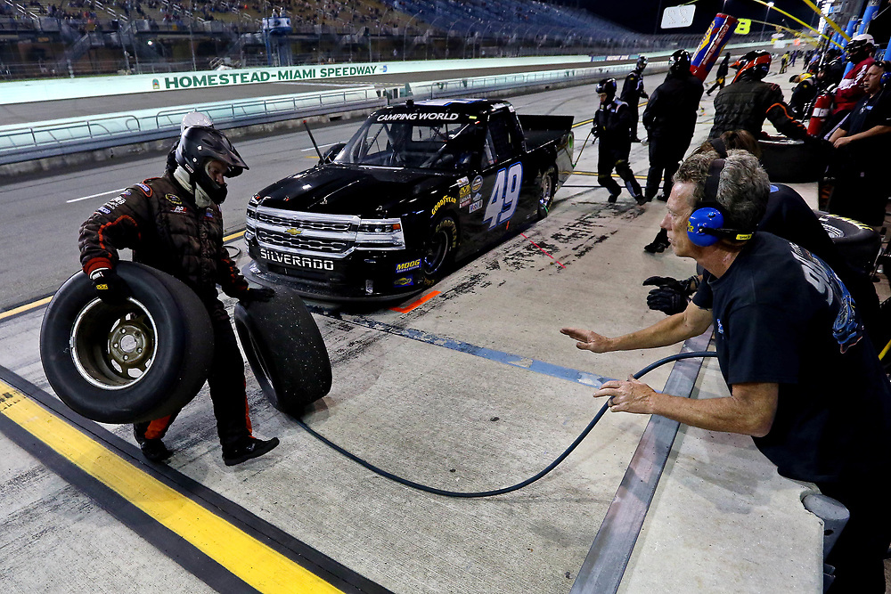 Nov 18, 2016; Homestead, FL, USA; NASCAR Camping World Truck Series driver Reed Sorenson during the Ford Ecoboost 200 at Homestead-Miami Speedway. Mandatory Credit: Peter Casey-USA TODAY Sports