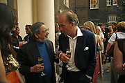 Sir Vidia Naipaul and David Campbell. Tatler Summer party ( in association with Fendi) Home House, Portman Sq. 29 June 2006. ONE TIME USE ONLY - DO NOT ARCHIVE  © Copyright Photograph by Dafydd Jones 66 Stockwell Park Rd. London SW9 0DA Tel 020 7733 0108 www.dafjones.com