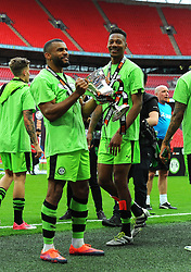 Daniel Wishart of Forest Green Rovers and  Ethan Pinnock of Forest Green Rovers celebrate after the final whistle - Mandatory by-line: Nizaam Jones/JMP - 14/05/2017 - FOOTBALL - Wembley Stadium- London, England - Forest Green Rovers v Tranmere Rovers - Vanarama National League Final