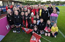 Jasmine Matthews of Bristol City Women poses with members of St Agnes FC - Mandatory by-line: Paul Knight/JMP - 20/05/2017 - FOOTBALL - Stoke Gifford Stadium - Bristol, England - Bristol City Women v Liverpool Ladies - FA Women's Super League Spring Series