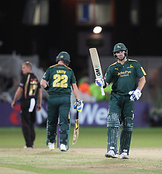 Michael Lumb of Notts Outlaws celebrates his half century - Mandatory by-line: Jack Phillips/JMP - 29/07/2016 - CRICKET - Trent Bridge - Nottingham, United Kingdom - Nottingham Outlaws v Leicester Foxes - Natwest T20 Blast