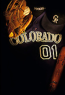 Lightpainting of Colorado Rockies clothing and equipment.