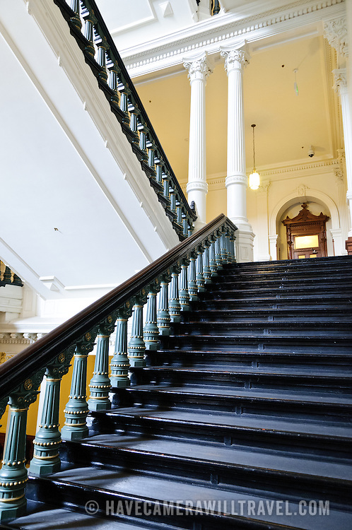 Heavy, wide staircase inside the Texas State Capitol in Austin, Texas