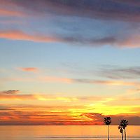 USA, California, San Diego. Sunset at Cardiff by the Sea, North County San Diego.