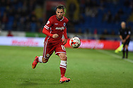 Adam Le Fondre of Cardiff city in action. Skybet football league championship match, Cardiff city v Ipswich Town at the Cardiff city stadium in Cardiff, South Wales on Tuesday 21st October 2014<br /> pic by Andrew Orchard, Andrew Orchard sports photography.