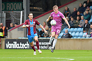 Rochdale midfielder Andy Cannon (27) and Scunthorpe United midfielder Josh Morris (11) during the EFL Sky Bet League 1 match between Scunthorpe United and Rochdale at Glanford Park, Scunthorpe, England on 8 September 2018. Photo Ian Lyall